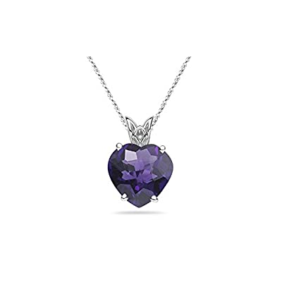 3.00 Cts of 10 mm AAA Heart Amethyst Scroll Pendant in Platinum