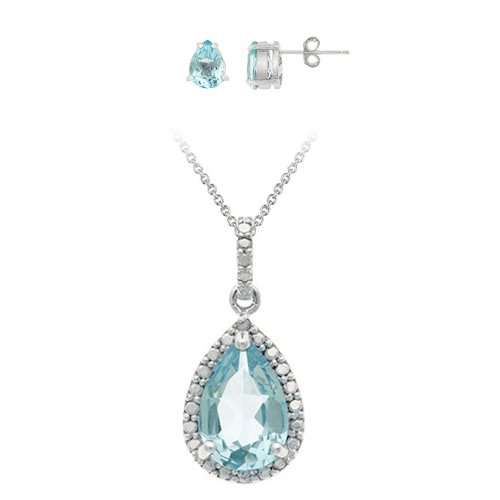 Sterling Silver Genuine Diamond and Blue Topaz Pendant and Earring Set