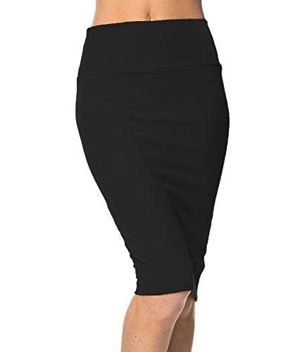 urbancoco-womens-high-waist-stretch-bodycon-pencil-skirt-m-black