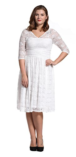 Dilanni Women Plus Size Lace Dresses Formal Wedding Party Dress(White 3X)