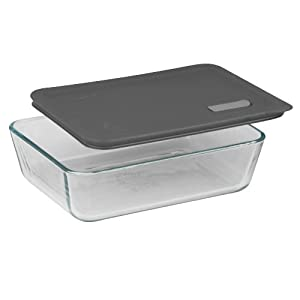 Pyrex No Leak Lids 6 Cup Rectangle Baking Dish with Plastic Lid