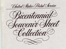 Bicentenniel Souvenir Set of 4 single 13 cent US Stamps