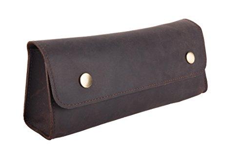Trousse, 100 % cuir, marron, 9.5 x 20 x 4.5 cm