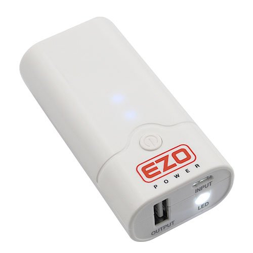 EZOPower 5200mAh Pocket Size External Battery Pack High Capacity Power Bank Charger 1A output with LED Flashlight for Apple iPhone 4 4s 3Gs 3G, iPod Touch / Amazon Kindle / Samsung Galaxy S3 S S2 S II, Advance, Galaxy Nexus, Epic 4G / Blackberry Torch Bold Curve / HTC Sensation 4G, XE, XL, One X, Thunderbolt, EVO Shift 3D, Inspire / LG Optimus V 2X 3D t / Motorola Droid Razr X 3 2 Bionic, Atrix 2, Triumph / Nokia Lumia 900 800 – (White)