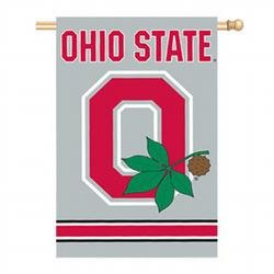 "Ohio State Buckeyes O Applique Embroidered Banner Flag 44""x28"" NCAA College Athletics Fan Shop Sports Team Merchandise"