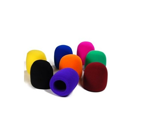 Bluecell Pack of 8 PCS Black/Purple/Hot Pink/Brown/Blue/Orange/Yellow/Green Handheld Stage Microphone Windscreen Foam Cover (Condenser Microphone Orange compare prices)