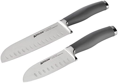 Anolon 2 Piece SureGrip Cutlery Japanese Stainless Steel Santoku Knife Set with Sheaths, Gray