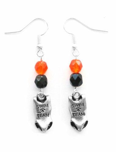 """Swim Suit"" Swimming Earrings (Team Colors Orange & Black)"