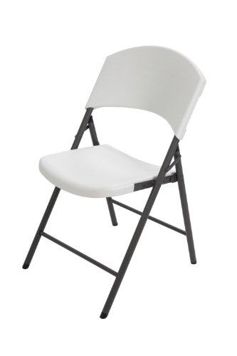 Lifetime 42810 Light Commercial Folding Chair, White Granite with Gray Steel Frame, 4-Pack