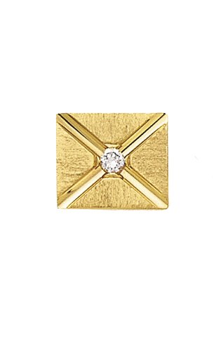 14K Yellow Gold Envelope Tie Tac with Center Diamond-89115