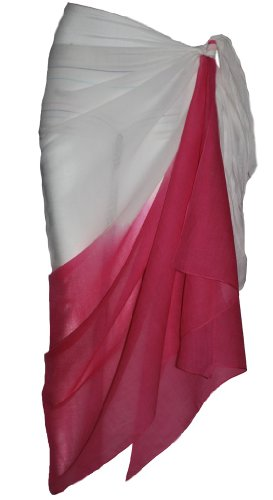 Two Tone White and Fuschia Sarong
