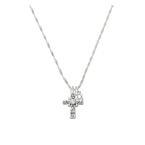 Scroll Cross With Clear Crystal Mini Gelato Initial - G - Grace Necklace
