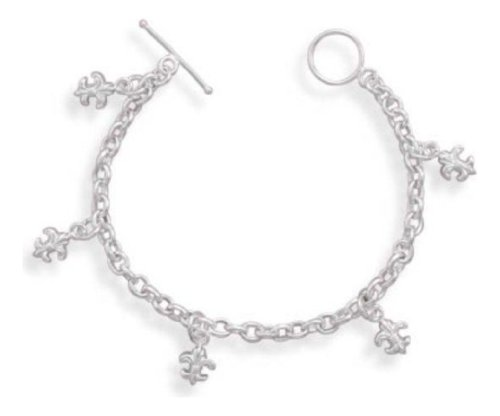 "Sterling Silver Tiny Fleur De Lis Charm Bracelet For Girls, Childs 3Yrs To 5Yrs 5.25"" Length"