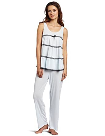 Oscar de la Renta Women's Lovely Lace Pajama Set, Blue Vapor, Medium