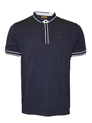 New Mens Navy Gabicci Colwyn Designer Branded Polo Neck T-Shirt Top Size S