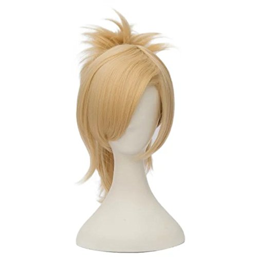 [Fashion Light Blonde Anime Cosplay Wig+45cm Ponytail+Cap] (The Office Angela Costume)