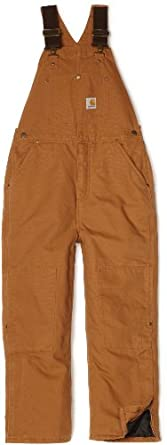 Carhartt Big Boys' Washed Duck Bib Pocket Pant, Carhartt Brown, 8