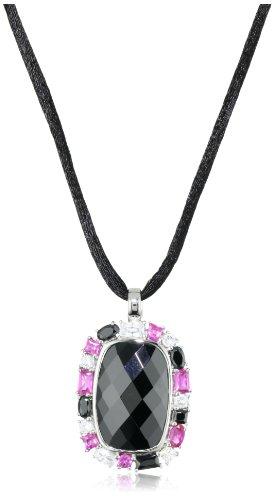 Giorgio Martello Sterling Silver Rhodium Plated Drop Pendant Necklace