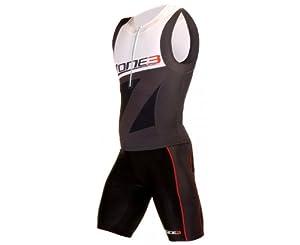 ZONE3 Men's Lava Distance Trisuit, Black/White/Grey, S