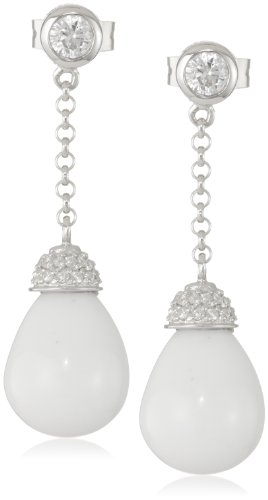 Giorgio Martello Sterling Silver White Agate and Cubic-Zirconia Teardrop Earrings