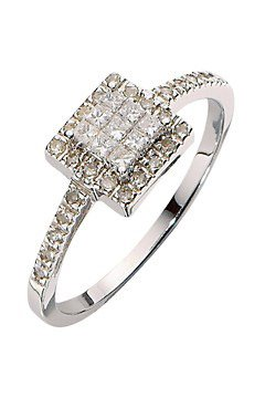 Antique 9 ct White Gold Women Channel Set Diamond Ring Brilliant Cut 0.30 Carat
