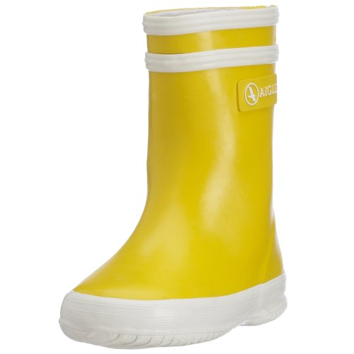 AigleBaby Flac Gummistiefel - Stivaletti in gomma a gamba media, senza imbottitura Unisex - Bambini , giallo (Gelb (jaune / blanc 6)), 22 EU