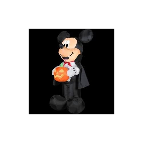 HALLOWEEN DECORATION LAWN YARD INFLATABLE AIRBLOWN DISNEY VAMPIRE MICKEY MOUSE AND PUMPKIN 3.5 TALL