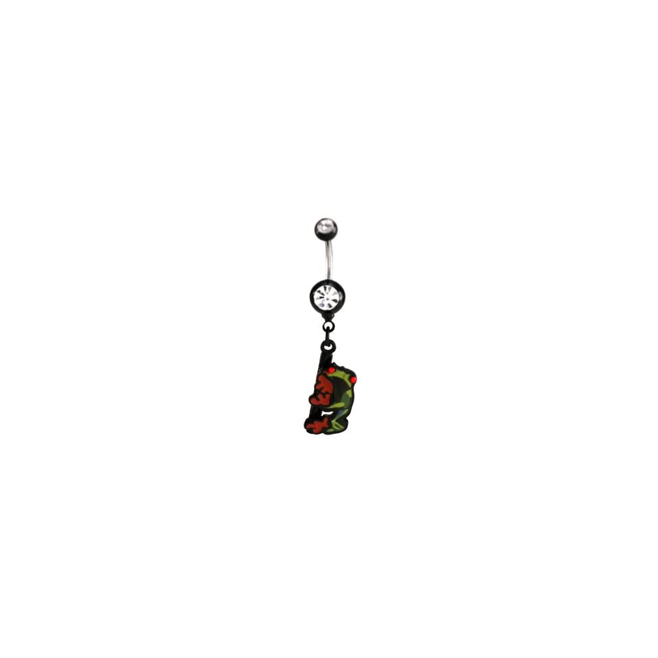 Stainless Steel Belly Ring with Black Acrylic Balls and Clear CZ   Tree Frog with Jeweled Red Eyes Dangle   14G   7/16 Bar Length   Sold Individually