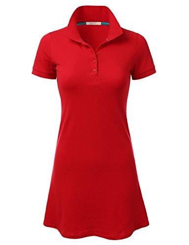 DRESSIS Women's Short Sleeve Polo Shirt Mini Shift Dress RED S