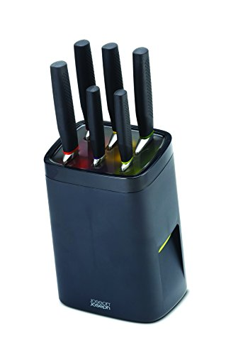 Joseph Joseph 6-Piece Knife Set with Self Locking Knife Block, Black