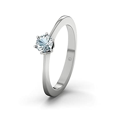 21DIAMONDS Himalaya Aquamarine Brilliant Cut Women's Ring - Silver Engagement Ring