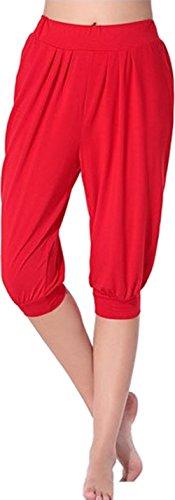 HOEREV Super suave Harem Spandex Modal Yoga Pilates Capri pantalones mujer