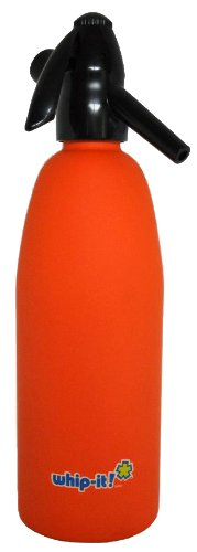 Whip-It 1-Liter Soda Siphon, Rubber Coated, Orange (Soda Siphon Cartridge Holder compare prices)