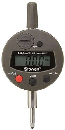 "Starrett 3600-5 LCD Electronic Indicator, 0.375"" Stem Dia., 0-0.5""/0-12.7mm Range, 0.0005""/0.01mm Graduation, +/-0.001"" Accuracy"