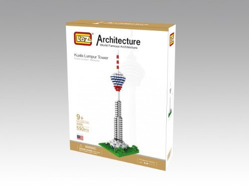 Loz Micro Blocks, Kuala Lumpur Tower Model, Small Building Block Set, Nanoblock Compatible (550 pcs), Makes a Great Stocking Stuffer