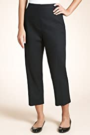 Linen Blend Flat Front Plain Cropped Trousers [T57-8110-S]