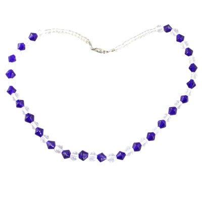 Rosallini Women Girls Clear Blue Plastic Beads Necklace Fashion Jewelry