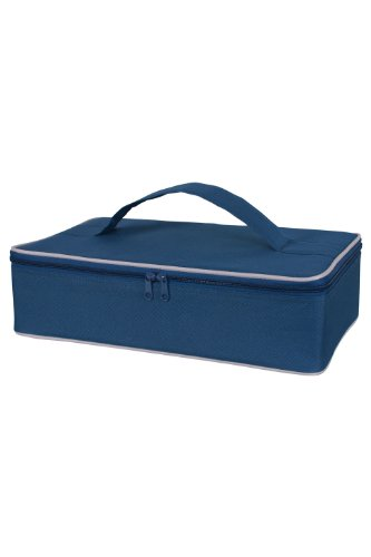 KAF Home Portable Insulated Casserole Dish Carrier with Handle, Navy Blue, 3.5 x 14.5 x 8.75-Inches (Baking Dish Insulated compare prices)