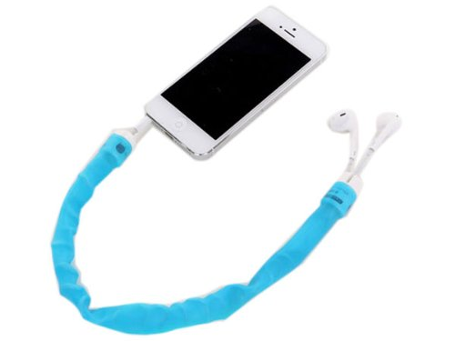 Fashionable Retractable Silicone Earphone Cable Holder Blue