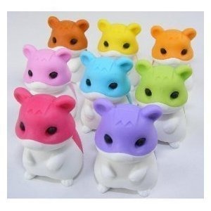 Hamster Japanese Erasers - 8 Pc Children, Kids, Game