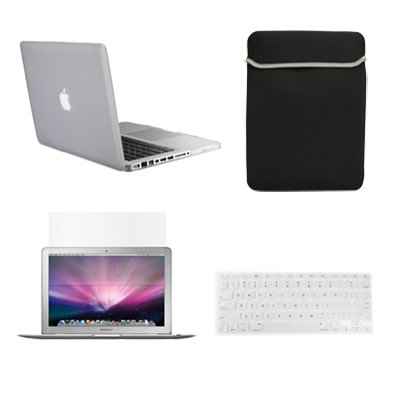 """Topcase New Macbook Pro 13"""" 13 Inch With Retina Display A1425 And A1502 (Newest Version 2013) 4 In 1 Bundle - Clear Rubberized Hard Case Cover + Matching Color Soft Sleeve Bag + Silicone Keyboard Cover + Lcd Hd Clear Screen Protector With Topcase Mouse Pa front-198741"""