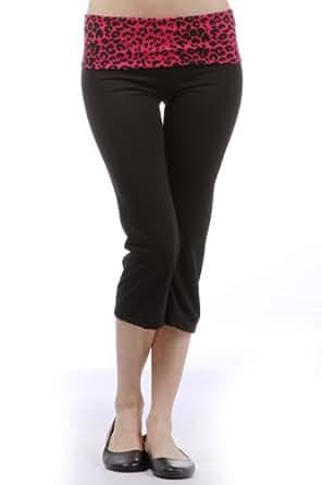 Capri Yoga Pants with Black & Fuchsia (Hot Pink) Cheetah Printed Fold Over Waist, Junior Size Small