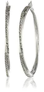 Jessica Simpson Silver and Crystal Hoop Earrings