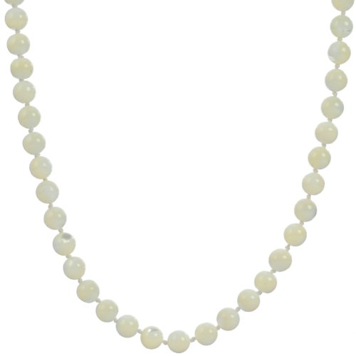Sterling Silver 8mm White Mother-Of-Pearl Knotted Necklace, 36