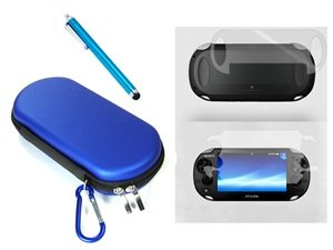 Cosmos ® 3 Set Blue Color Hard Travel Case Cover Bag With Carabiner Memory/Game Card Pocket For Playstation Ps Vita + Front & Back Lcd Screen Protector + Blue Stylus Universal Touch Screen Pen For Sony Ps Vita,Kindle Fire Hd + Free Cosmos Brand Lcd Touch