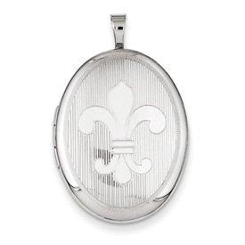 Genuine IceCarats Designer Jewelry Gift Sterling Silver 26Mm Fleur De Lis Oval Locket