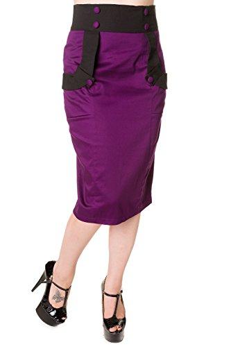 Banned-Black-Purple-Retro-Pencil-Skirt