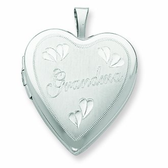 Sterling Silver 20mm D/C Grandma Heart Locket