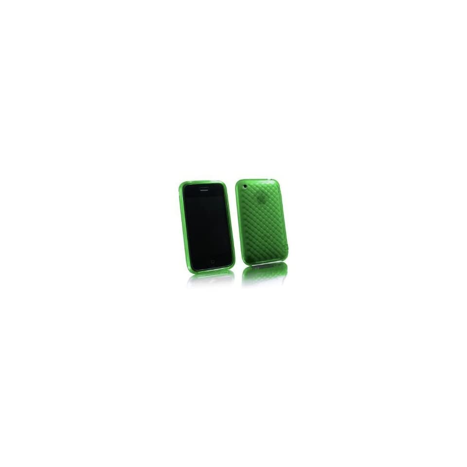NEW GREEN DIAMOND CANDY SOFT SILICONE SKIN COVER CASE FOR APPLE IPHONE 3G 3GS 2ND GEN PERFECT SLIM FIT