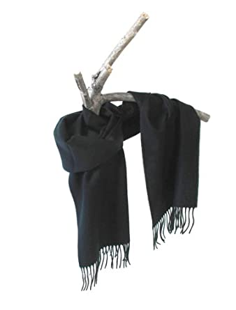 "Black Softer than cashmere plain solid colors in 12 by 60"" warm winter scarves for Men and Women"